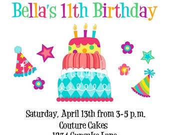 Birthday Cake Party Invitation (Printable Digital You Print DIY)