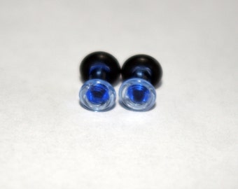 8g Blue Glass ear plugs body JEWELRY 3mm handmade 8 gauge
