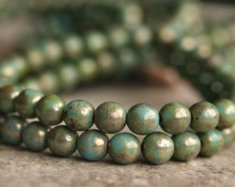 Turquoise Picasso  6mm Czech Glass Round Druk Bead : Full Strand