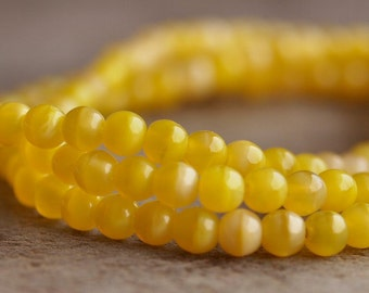 Coral Lemon Czech Glass Bead 4mm Round Druk :100 pc Strand