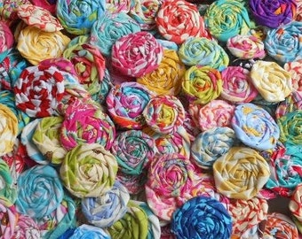 "Rolled Roses Fabric Flowers Hairclip Bride Wedding Shower Birthday Bobby Pin Photo Prop Rosette 1"" Scrapbook Handmade Wholesale 20"