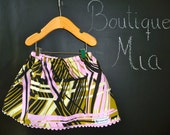 SAMPLE - Children Skirt - Abstract Print - Will fit Size 12-24 month up to 2T - by Boutique Mia and More - Ready To Ship