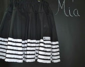 SAMPLE - Children Extra Full Skirt - Black and White Ruffle - Will fit Size 5T up to 8 yr - by Boutique Mia and More - Ready To Ship