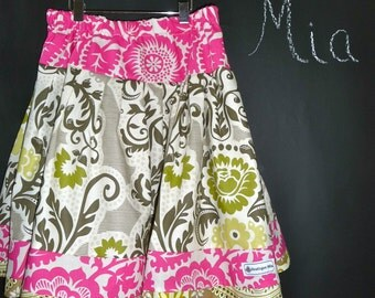 SAMPLE - Children Extra Full Skirt -  Pink and Khaki - Will fit Size 5T up to 8 yr - by Boutique Mia and More - Ready To Ship