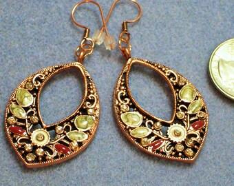Copper Jeweled Dangle Earrings (852)