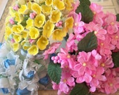 Vintage / Millinery Floral Sampler / Fabric Flowers / Miniature Blue Roses-Bright Yellow Forget Me Nots and Pink Posies