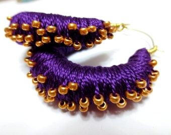 Royal Purple Thread Wrapped Hoop Earrings with Gold Beads