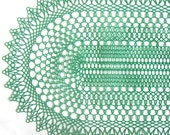 Vintage Plastic Doily Placemat Dark Green Oval