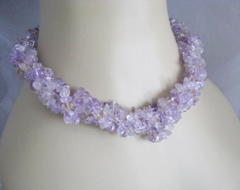 Sterling Silver amethyst Chips 4 strand Necklace