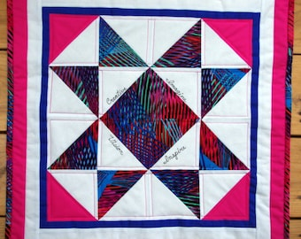 Inspirational Quilted Table Topper Wall Hanging Pink Multi-Color, Quiltsy Handmade