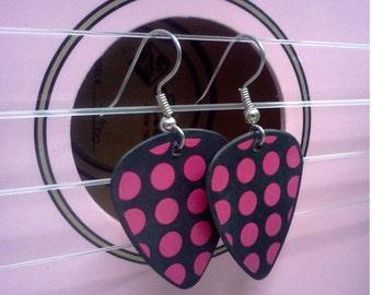 Pink polka dot guitar pick earrings