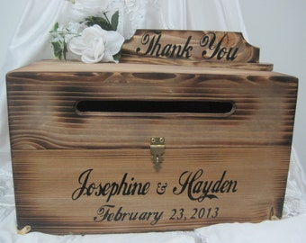 Large Rustic Wedding wooden Card Box Keepsake Chest Cards Thank You  Personalized Custom Country Barn Wood style weddings card money holder