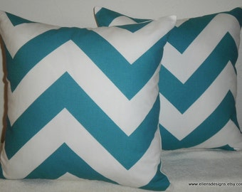Free Domestic Shipping. Set of Two Decorative Pillow Covers -18 inch  Zig Zag Turquoise and White