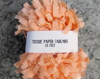 Apricot Tissue Paper Garland, Festooning, 25 feet Fringe Streamer, Baby Birthday Garland, Wedding Pinata,Peach Bridal Shower Garland