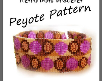 Retro Dots Peyote Pattern Bracelet - For Personal Use Only PDF Tutorial
