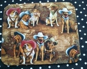Computer Mousepad Made With Western Dogs Wearing Cowboy Hats Fabric