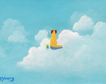 Yellow Lab dog Folk Art PRINT by Todd Young painting In The Clouds