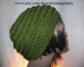 Handmade Crochet Slouchy Hat-Dark Leaf