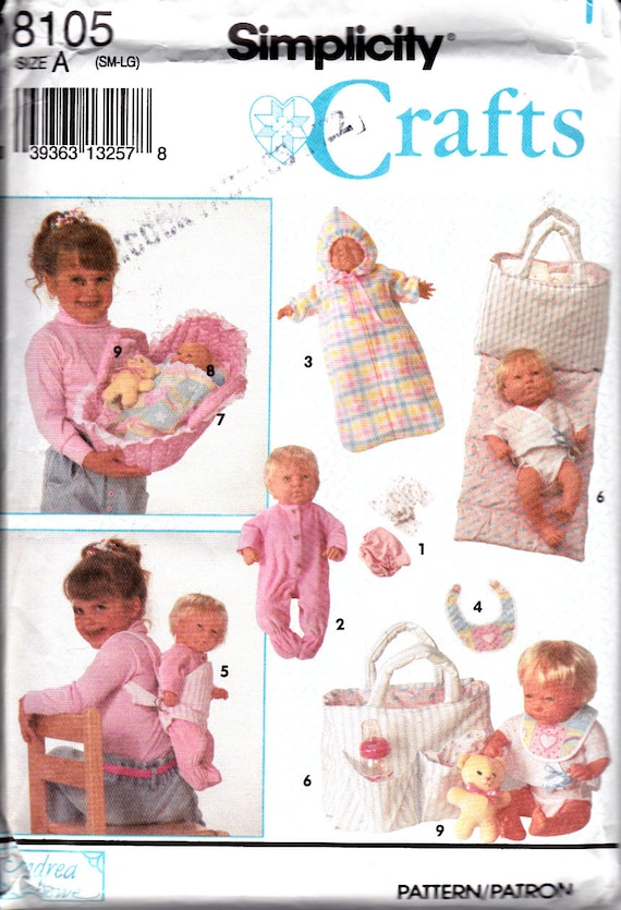 Sewing Pattern Doll Accessories Carrier Bassinet Blanket Moses