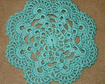 "New Handmade Crocheted ""Eight Shells"" Coaster/Doily in Aqua"