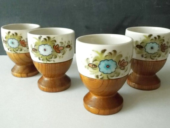 Cute Vintage Egg Cups Ceramic And Wood By