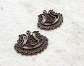 Copper filigree earring findings (2pc)