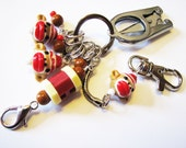 Knitter's Chatelaine: Sock Monkeys - Stitch Markers, Row Counter & Folding Scissors on a Decorative Clasp