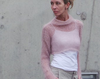 womens pink sweater / cropped sweater /  Soft pink kid mohair and silk sweater