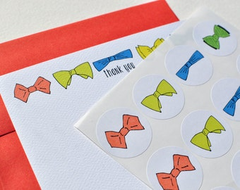 Men's Bowtie Personalized Stationery Gift Set with Stickers