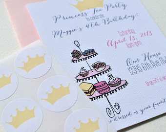 Princess Tea Birthday Party Invitation Set with  Stickers