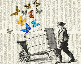 butterfly cart dictionary print