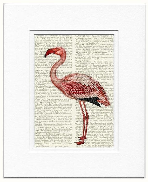 Flamingo print pink flamingo IV vintage artwork by FauxKiss