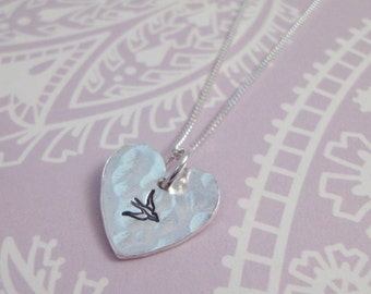 Silver Heart Necklace With Bird Print