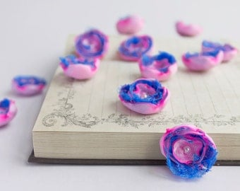 12 Handmade small fabric flowers in light pink and azure blue - wedding decor, sew on flowers, satin embellishments, flower appliques