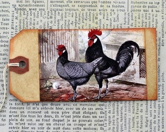 Shabby Primitive Rooster Tags