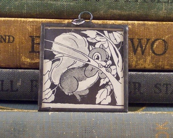 Squirrel Pendant - Soldered Glass Pendant Charm with Vintage Illustration - Glass Squirrel Charm - Story Book Pendant - Squirrel in Tree