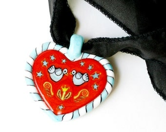 Two Love Birds heart pendant