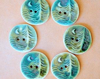 6 Handmade Ceramic Buttons - Moon over Cedars Buttons in Deep Moss Green Stoneware