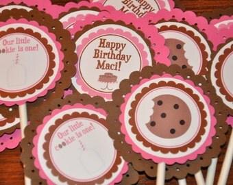 Milk and Cookies. Milk and Cookies Cupcake Toppers. Cookies and milk. Cupcake Picks. Set of 12. Choose boy or girl