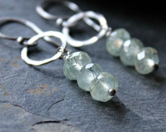 Pale Green Prehnite Gemstone, Sterling Silver Dangle Earrings - MOJITO