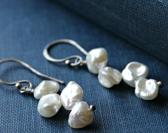 Rustic wedding white Pearl and Sterling Silver earrings, bridal fashion - VIRTUE