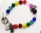 Chakra Bracelet with Purple Angel - Chakra Angel Sun Catcher - B2013-08