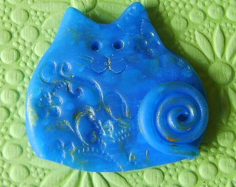 Polymer Clay Translucent Blue Happy Cat Brooch or Magnet