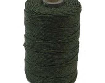 1 Spool (120 Yards) 3 Ply Irish Waxed Linen Thread Crawford Cord DARK EMERALD GREEN 420387-sp