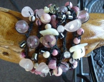 Handmade Bracelet has Rhodocrosite, Pink Quartz and Shell Beads in Lush Pink 'n Black Gem and Bead Crochet Bracelet with 8 Strands