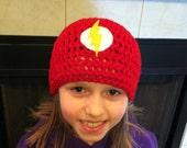 Flash Superhero Crochet Beanie Skullcap Hat-great costume idea or photo prop