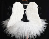 """Angel Tutu Costume - 8"""" Tutu and Angel Wings - For Girls, Babies, Toddlers - Valentine's Day"""