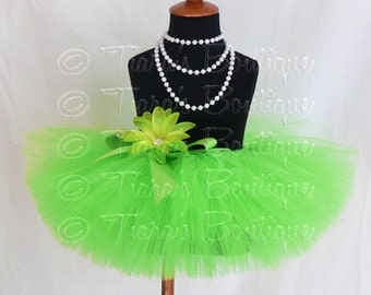"Girls Tutu Skirt - Lime Green Tutu - Birthday Tutu - Lyrical Lime - Custom Sewn 8"" Tutu - sizes Newborn to 5T"