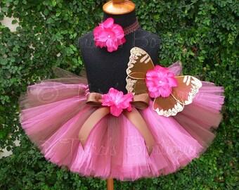 Baby Tutu Fairy Wings - Brown Fuchsia Pink Gold - Birthday Tutu Set - Sewn 6'' Tutu Wings & Headband - sizes newborn to 24 months