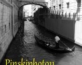 Bridge of Sighs Black and White Photo with Gondolier Sized 5 x 7